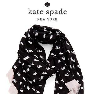 Kate Spade Swan Black White Pink Oblong Scarf